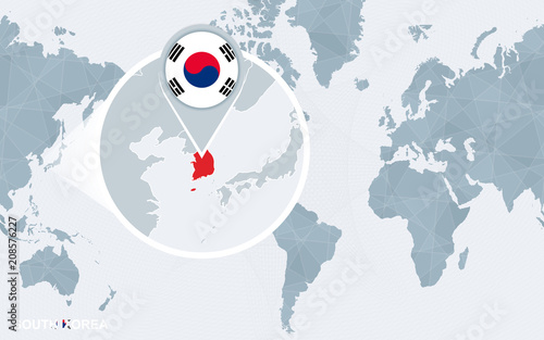 World map centered on America with magnified South Korea ...