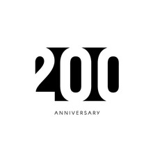 Two Hundred Anniversary, Minimalistic Logo. Two-hundredth Years, 200th Jubilee, Greeting Card. Birthday Invitation. 200 Year Sign. Black Negative Space Vector Illustration On White Background.