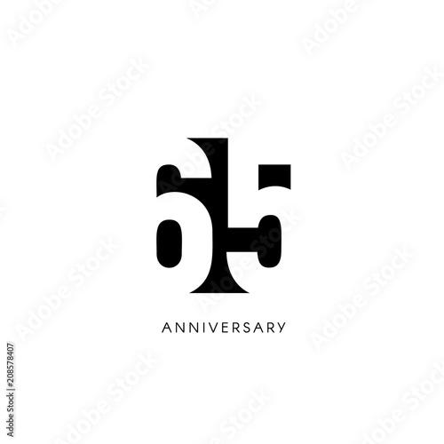 Valokuvatapetti Sixty five anniversary, minimalistic logo