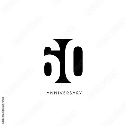 Photographie  Sixty anniversary, minimalistic logo