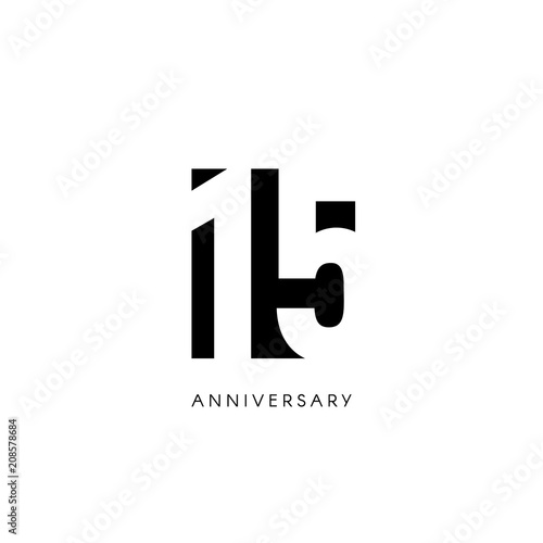 Fifteen Anniversary Minimalistic Logo Fifteenth Years 15th