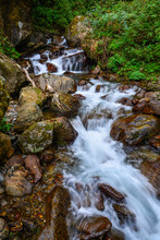 Small Waterfall With Stream At...