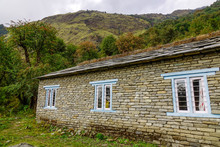 Part Of Aged House On Mountain