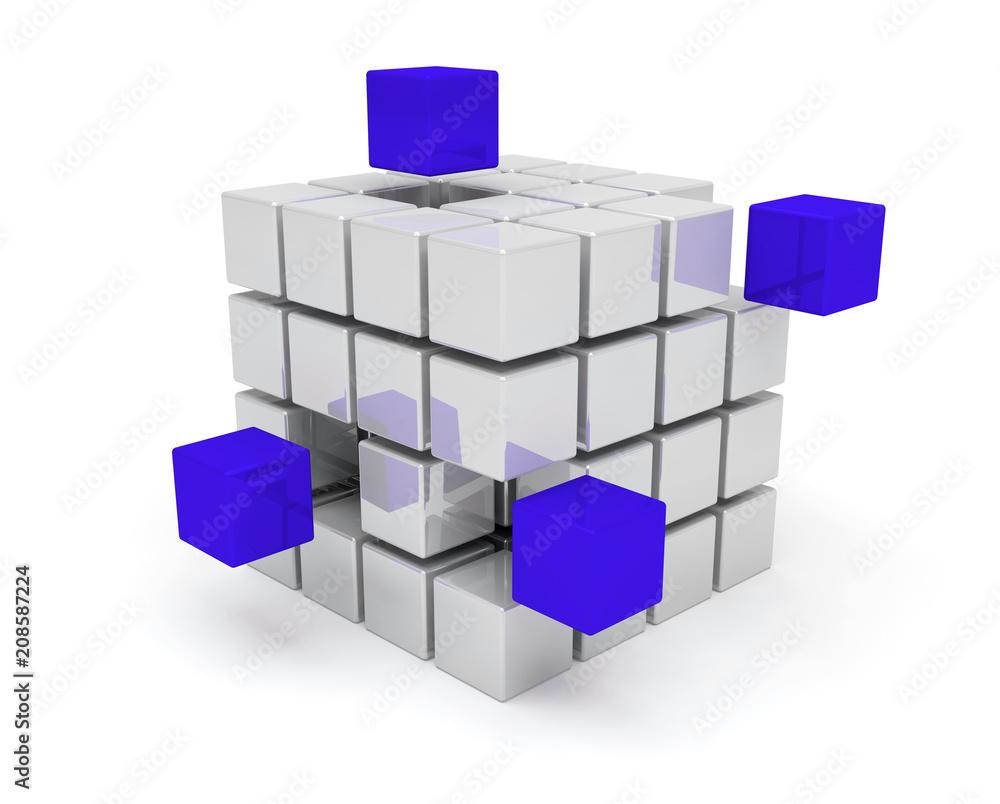 Fototapeta cubes travail d'équipe communication