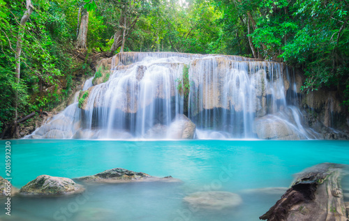 Poster Bleu nuit Erawan Waterfall in Thailand