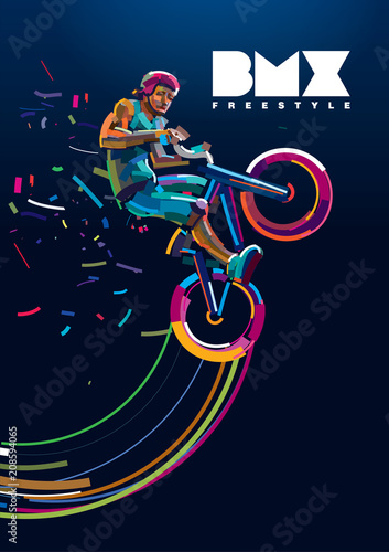Fotomural bmx. Biker in a jump. Poster in a digital painting.