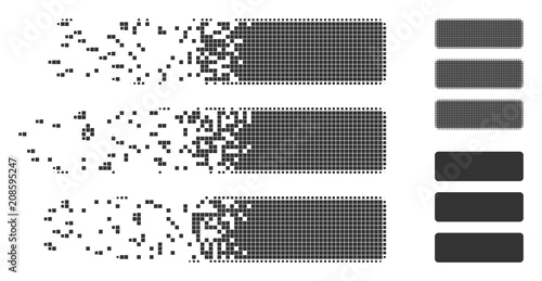 Gray vector database icon in dispersed, dotted halftone and undamaged entire versions Canvas Print