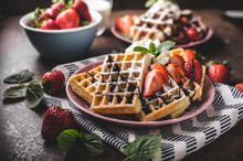 Waffles With Berries, Strawber...