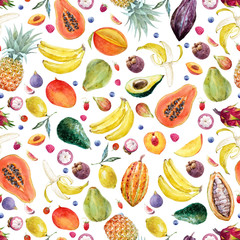 Watercolor exotic fruits pattern