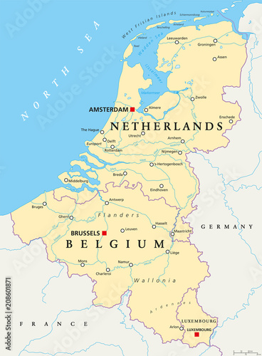 Benelux. Belgium, Netherlands and Luxembourg. Political map with ...