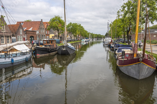 Recess Fitting North Sea canal and boats in the city of edam. netherlands