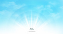 Abstract Of Realistic Sunshine On The Sky Background. Each Layer Has Separated, You Can Use And Adjust For Working.