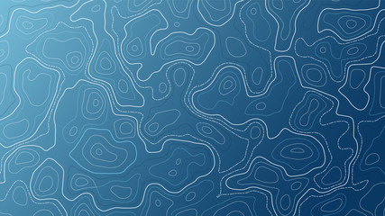 Blue background with map contour. Topographic vector wallpaper.