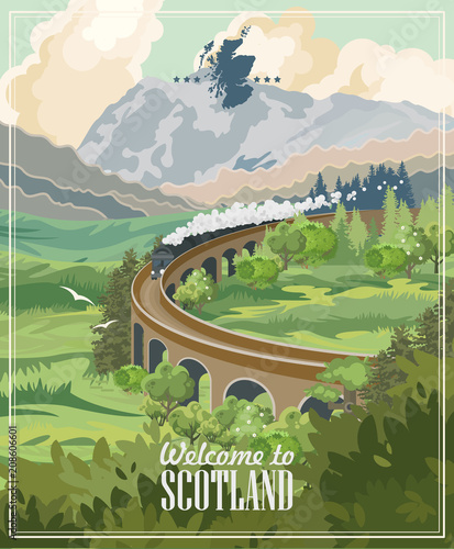 Fototapeta Scotland travel vector in modern style. Scottish landscapes obraz