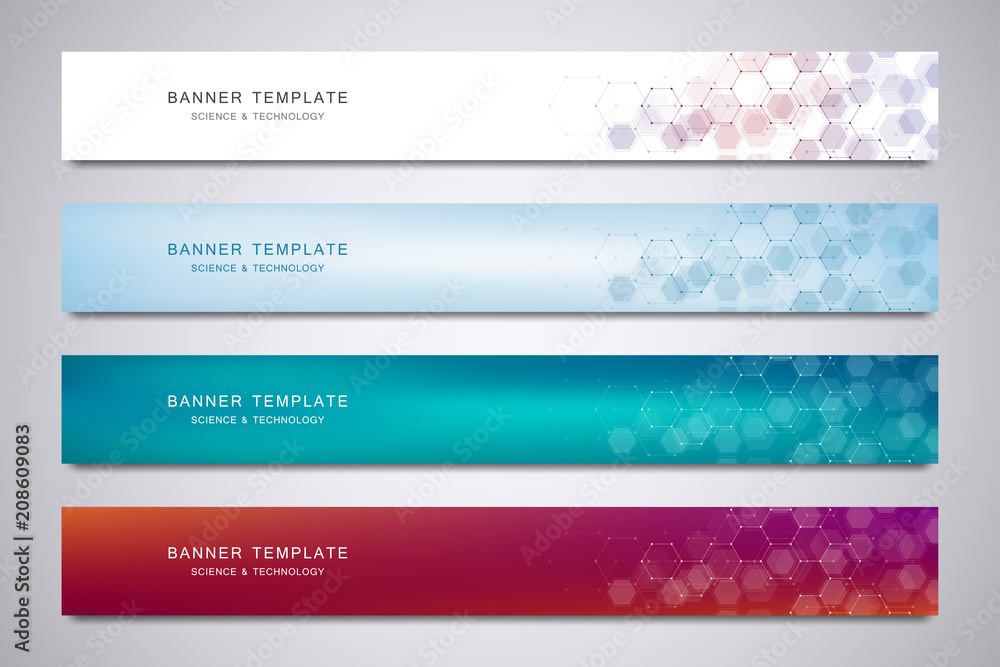 Fototapeta Science, medical and digital technology header or banners. Geometric abstract background with hexagons design. Molecular structure and communication vector illustration.