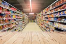 Wood Floor And Supermarket Blu...