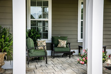 Traditional Outdoor Porch With Cat