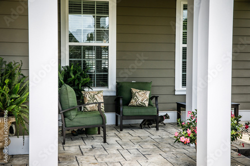 Traditional Outdoor Porch with Cat Canvas