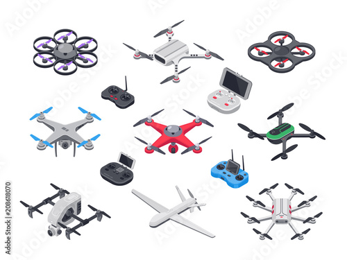 Obraz Unmanned aircraft, delivery drone with propellers, camera and computer controller. Drones and controllers isolated vector isometric set - fototapety do salonu