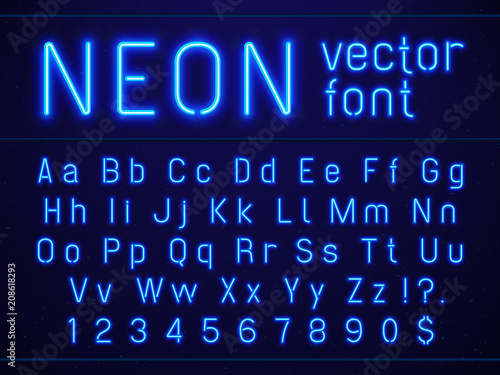 bright glowing blue neon alphabet letters and numbers font nightlife entertainments modern bars