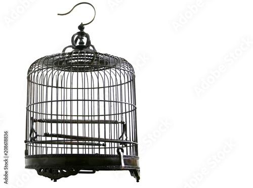 Fotografie, Tablou Empty metal birdcage with a white background.