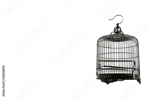 Photo Metal birdcage on a white background