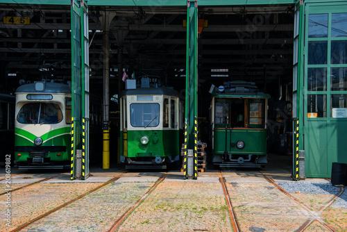 In de dag Spoorlijn Straßenbahn Remise