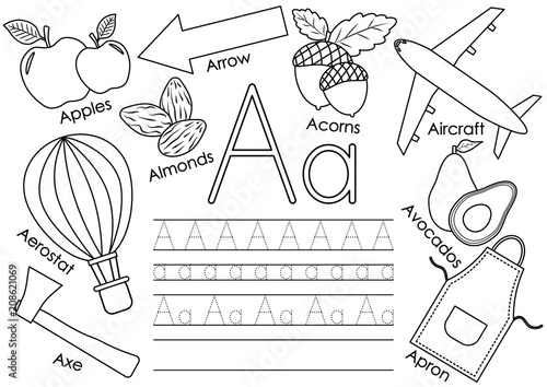 Letter A Learning English Alphabet With Pictures And Writing