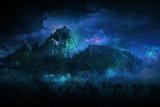 geheimnisvoll Berglandschaft blau