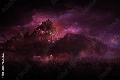 Plakát  geheimnissvoll berglandschaft rot