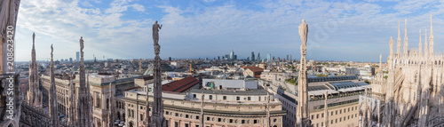 Foto op Plexiglas Artistiek mon. Panoramic view of Milan from roof of Cathedral of Milan
