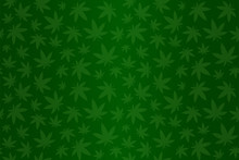 Beautiful Green Seamless Green Pattern With Cannabis Leaves