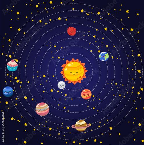 Set wektorowe doodle kreskówki ikon planety układ słoneczny. Komiks kolorowe zabawne postacie. Edukacja dzieci. Tapeta, tło, symbole, szablon do projektowania stron internetowych, karty z pozdrowieniami, okładka, plakat