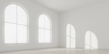 3D Stimulate Of White Room Interior And Wood Plank Floor With Sun Light Cast The Arch Window Shadow On The Wall,Perspective Of Minimal Design Architecture.