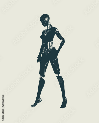 Photo Humanoid robot silhouette. Robotics industry relative image.