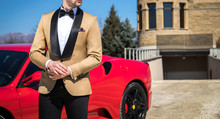 Man In Custom Tailored Tuxedo,...