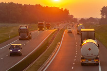 Traffic On The Polish Highway During Sunset