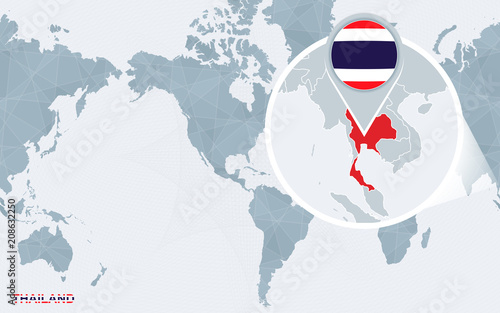 World map centered on America with magnified Thailand ...