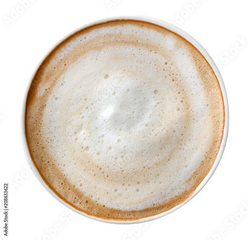 Cadres-photo bureau Cafe Top view of hot coffee latte cappuccino spiral foam isolated on white background, clipping path included