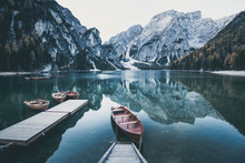Wooden Boat At The Alpine Mountain Lake