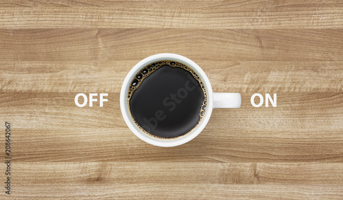 Cup of coffee with words ON OFF Canvas Print