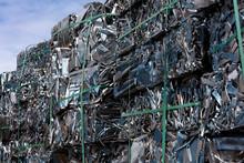 Aluminum Scrap In A Pile Of Cubes