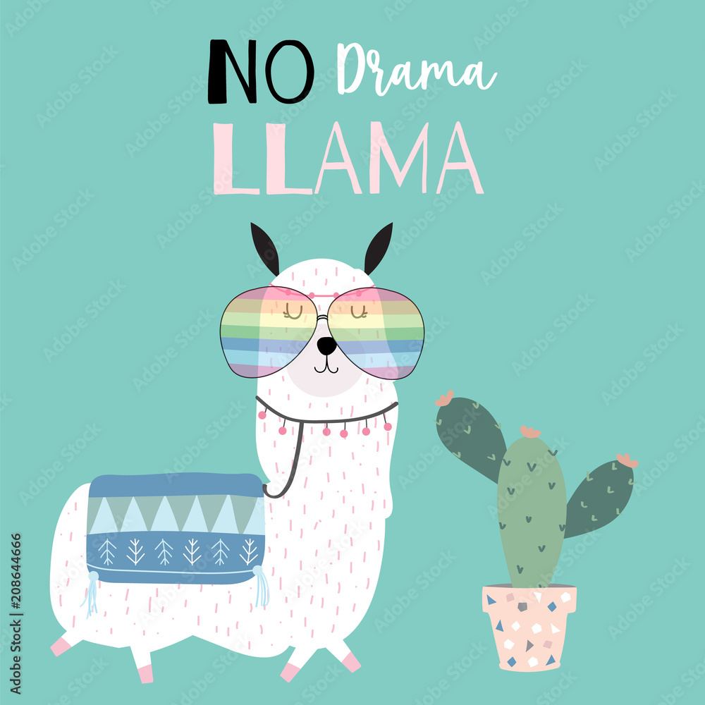 435fe3c0e Photo & Art Print Hand drawn cute card with llama,glasses and cactus |  EuroPosters