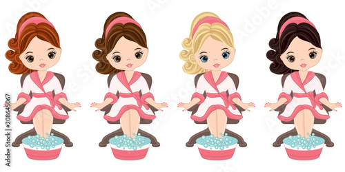 Valokuva  Vector Beautiful Young Girls Doing Pedicure in Spa Salon