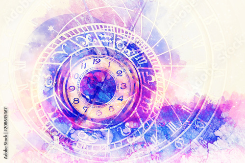 Fotomurales - astrological symbol Zodiac and vintage pocket watch. Abstract color background. Computer collage.