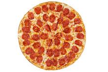 Fresh Italian Classic Original Pepperoni Pizza Isolated On White Background