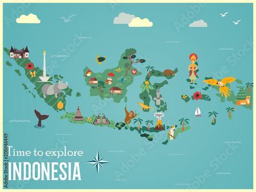 Photo Indonesian map with animals and landmarks