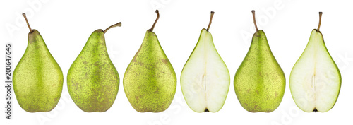 Green conference pears isolated on white background. With clipping path. Collection.