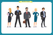 Business People teamwork, Vector illustration in a flat style cartoon character. Business team. A group of people dressed in strict suit.