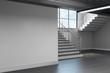 canvas print picture - Light school hallway interior with copyspace